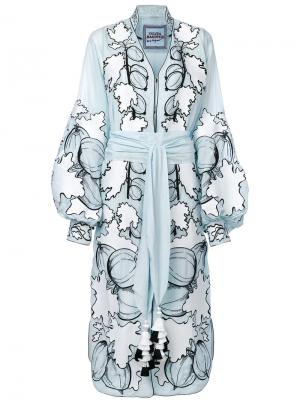 Платье с вышивкой Gooseberry Yuliya Magdych. Цвет: синий