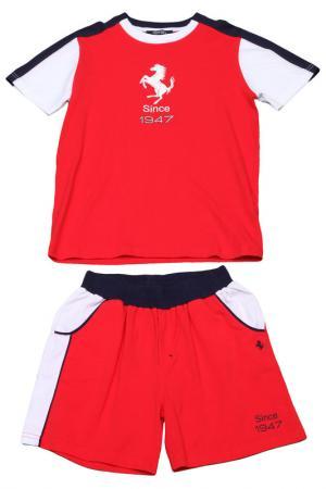 Костюм: футболка, шорты Ferrari. Цвет: красный