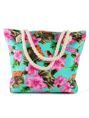 Сумка пляжная Весна Русские подарки. Цвет: зеленый, бежевый, бирюзовый
