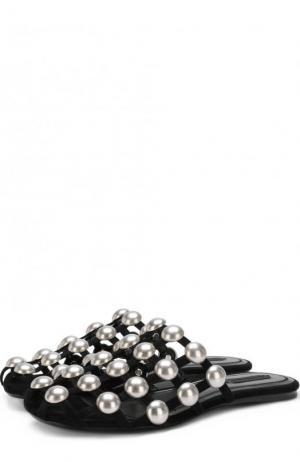 Кожаные сабо с металлической отделкой Alexander Wang. Цвет: черный