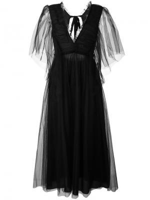 Длинное платье с кружевными рукавами Rochas. Цвет: чёрный