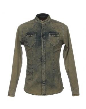 Джинсовая рубашка DANIELE ALESSANDRINI. Цвет: зеленый-милитари