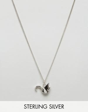 Fashionology Серебряное ожерелье с подвеской в виде журавля оригами. Цвет: серебряный