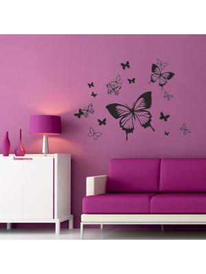 Виниловые наклейки Феерия бабочек, 15 шт. DECORETTO. Цвет: черный