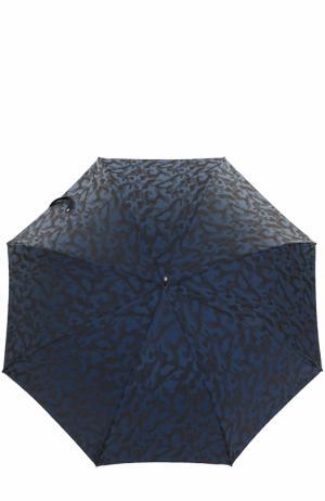 Зонт-трость с камуфляжным принтом Pasotti Ombrelli. Цвет: темно-синий