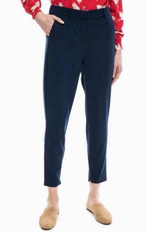 Синие зауженные брюки с карманами b.young. Цвет: синий