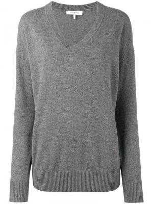 Трикотажный свитер с V-образным вырезом Frame Denim. Цвет: серый