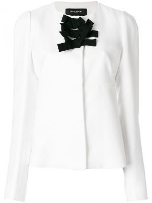 Приталенный пиджак с бантом спереди Rochas. Цвет: белый