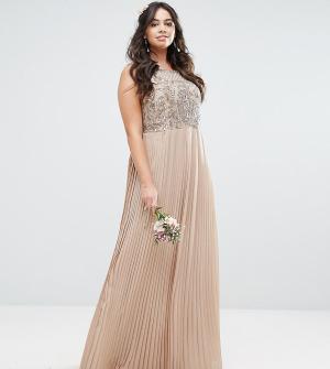 Maya Plus Платье макси с плиссированной юбкой. Цвет: розовый