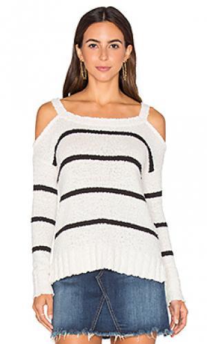 Свитер с открытыми плечами kim LA Made. Цвет: black & white