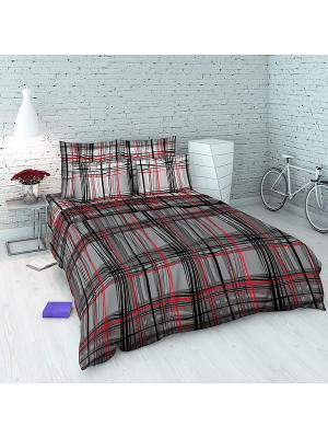 Комплект постельного белья Василиса. Цвет: серый, красный