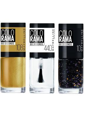 Лак для ногтей Colorama, 440, Прозрачная вуаль + 10, Звезда вечеринки 108, Золотой Песок, 3х7 мл Maybelline New York. Цвет: черный, золотистый, прозрачный