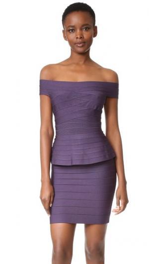 Платье с открытыми плечами Magdalena Herve Leger. Цвет: темный ежевичный