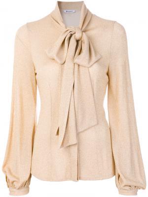 Блузка с горловиной на ленточной завязке Dondup. Цвет: металлический