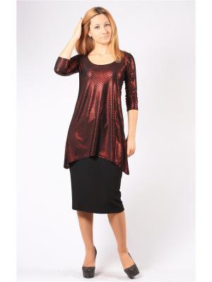 Блузка BERKANA. Цвет: черный, красный