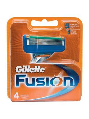 Сменные кассеты для бритья FUSION, 4 шт. GILLETTE. Цвет: синий