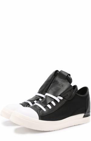 Высокие комбинированные кеды на шнуровке Cinzia Araia. Цвет: черный