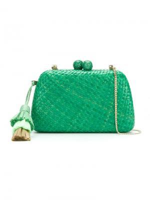 Straw clutch bag Serpui. Цвет: зелёный
