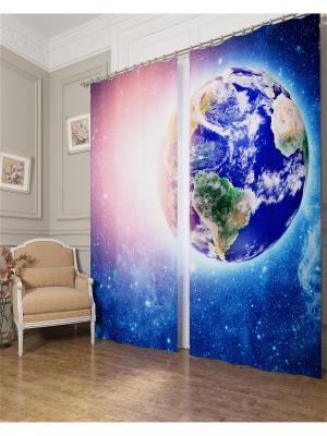 Фотошторы Земля в лучах солнца Сирень. Цвет: голубой