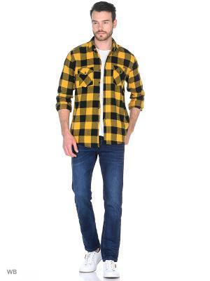Рубашка Modis. Цвет: желтый, светло-оранжевый, черный