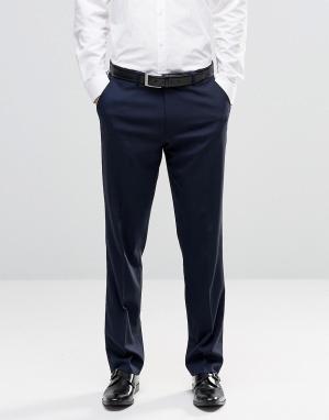 ASOS Темно-синие строгие брюки слим. Цвет: темно-синий