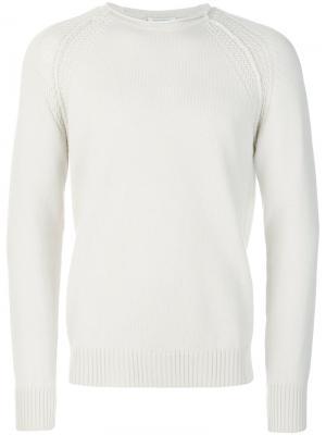 Трикотажный свитер с узором Paolo Pecora. Цвет: белый