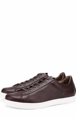 Кожаные кеды на шнуровке Gianvito Rossi. Цвет: бордовый