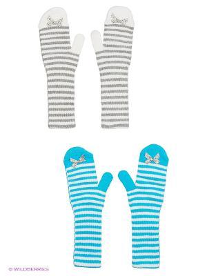 Варежки FOMAS. Цвет: белый, бирюзовый, светло-серый