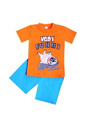 Комплект: футболка, шорты Sladikmladik. Цвет: оранжевый, голубой