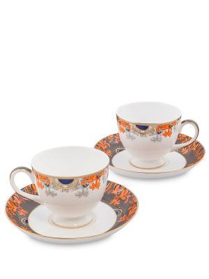 Чайный набор на 2 перс. Риомаджоре (Riomaggiore Pavone) Pavone. Цвет: белый,оранжевый