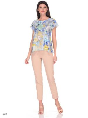 Блузка Be cara. Цвет: синий, бирюзовый, светло-желтый