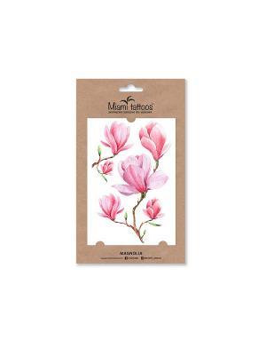 Акварельные переводные тату Miami Tattoos Magnolia. Цвет: светло-коралловый, бледно-розовый, розовый