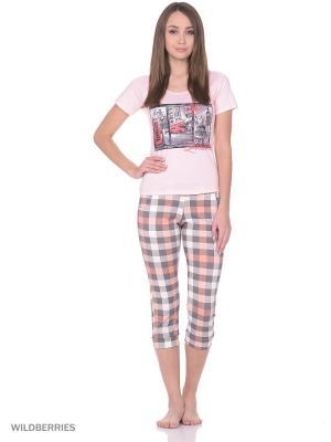 Пижама женская (футболка,капри) MARSOFINA. Цвет: розовый, серый