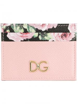 Визитница с цветочным принтом Dolce & Gabbana. Цвет: розовый и фиолетовый
