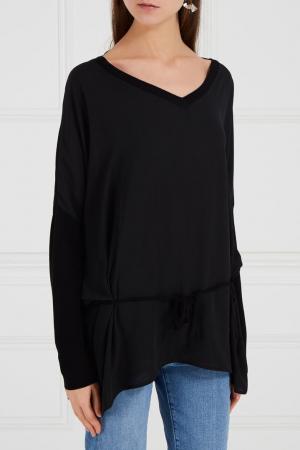 Блузка с трикотажной спинкой черная Adolfo Dominguez. Цвет: черный