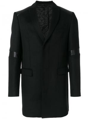 Классическое пальто с рельефными панелями Les Hommes Urban. Цвет: чёрный