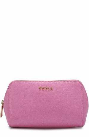 Кожаная косметичка на молнии Furla. Цвет: розовый