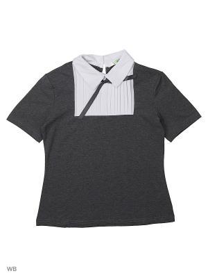 Блузка LIK. Цвет: темно-серый, белый