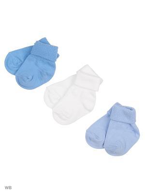 Носки детские,комплект 3 шт. Skinija. Цвет: белый, голубой, светло-голубой