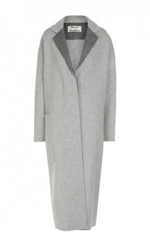 Удлиненное пальто прямого кроя со спущенным рукавом Acne Studios. Цвет: серый