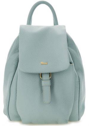 Кожаный рюкзак с откидным клапаном Bruno Rossi. Цвет: голубой