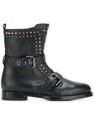 Байкерские ботинки с заклепками Le Silla. Цвет: чёрный
