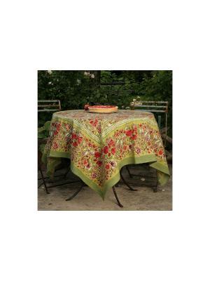 Скатерть Garden green-rouge /Сад зеленый-красный/ 180*270см, 100% хлопок Mas d'Ousvan. Цвет: зеленый, красный