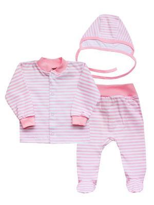 Набор одежды: кофточка, ползунки, чепчик КОТМАРКОТ. Цвет: розовый, золотистый