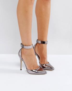 London Rebel Туфли на высоком каблуке с острым носом и пряжками. Цвет: серый