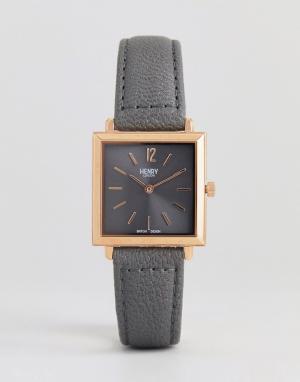 Henry London Серые часы с квадратным циферблатом и кожаным ремешком -. Цвет: розовый