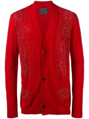 Декорированный кардиган Laneus. Цвет: красный