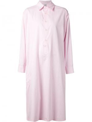 Длинное платье-рубашка в полоску Liwan. Цвет: розовый и фиолетовый