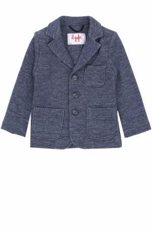 Однобортный пиджак из хлопка Il Gufo. Цвет: голубой