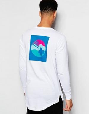 Pink Dolphin Лонгслив с принтом на спине. Цвет: белый